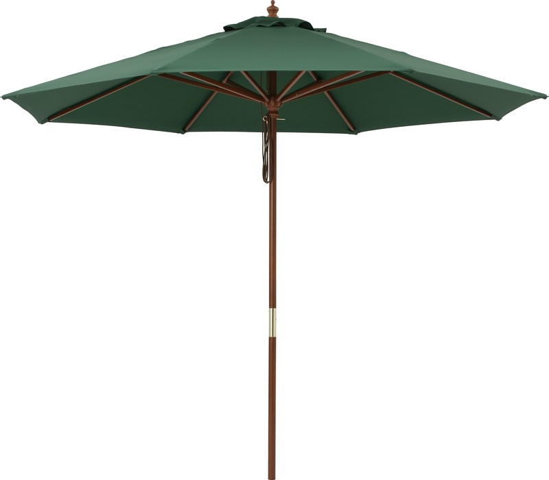 exis: Wood parasol 2.7m green PAS-27G