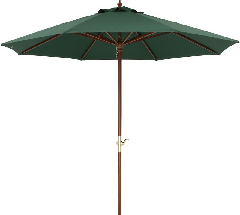 ウッドパラソル 2.7m クランク付 グリーン PAS-27GCR(33899300)(タカショー)送料無料 ホームエクステリア 日よけ ガーデニング ガーデンパラソル 木製