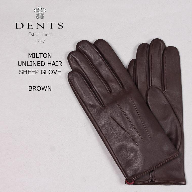 【並行輸入品】 DENTS (デンツ) MILTON - UNLINED HAIR SHEEP GLOVE - BROWN レザーグローブ メンズ