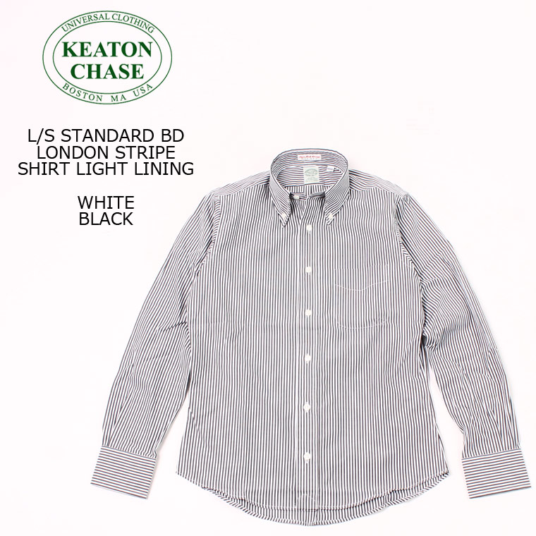 KEATON CHASE USA (キートンチェイスUSA) L/S STANDARD BD LONDON STRIPE SHIRT LIGHT LINING - WHITE_BLACK ボタンダウンシャツ メンズ