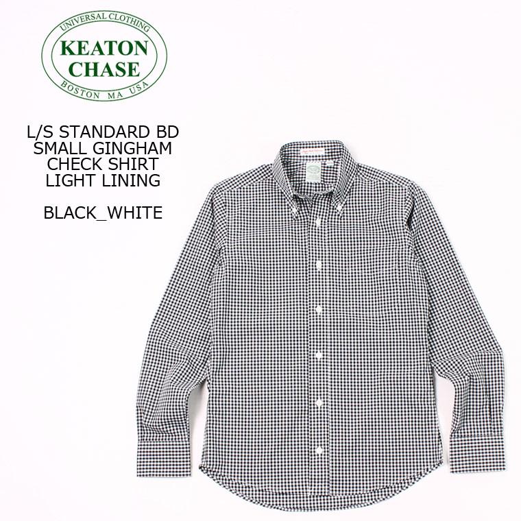 お中元 メンズ 海外輸入 ボタンダウン ギンガムチェックシャツ アメリカ製 アメトラ KEATON CHASE USA キートンチェイスUSA L S CHECK GINGHAM SHIRT STANDARD BLACK_WHITE SMALL BD LINING LIGHT ボタンダウンシャツ -
