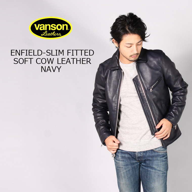 VANSON (バンソン) ENFIELD-SLIM FITTED SOFT COW LEATHER - NAVY