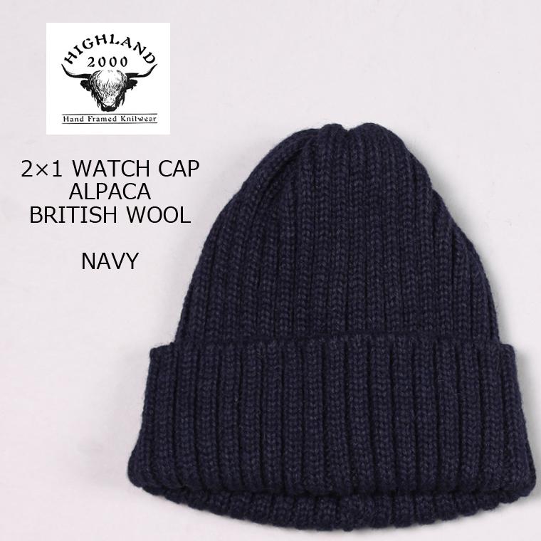 HIGHLAND 2000 (highland 2000) 2 1 WATCH CAP ALPACA BRITISH WOOL - NAVY knit  cap men a8e4a653fad