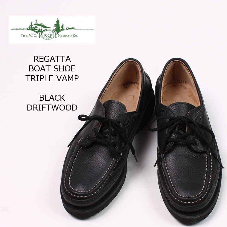 RUSSELL MOCCASIN (ラッセル モカシン) REGATTA BOAT SHOE TRIPLE VAMP - BLACK DRIFTWOOD トリプルバンプ 革靴 メンズ