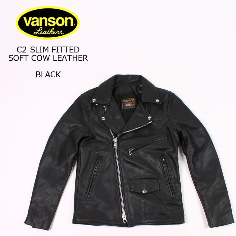 VANSON (バンソン) C2-SLIM FITTED SOFT COW LEATHER - BLACK レザージャケット メンズ