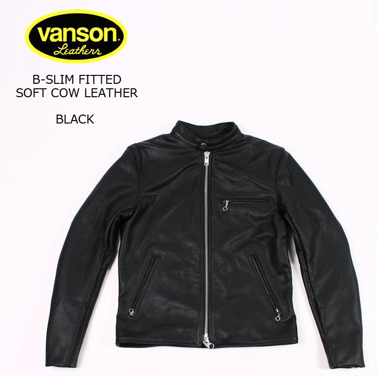 VANSON (バンソン) B-SLIM FITTED SOFT COW LEATHER - BLACK ライダースジャケット メンズ