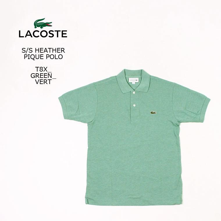 【2020 スプリング&サマー セール】[並行輸入品] FRANCE LACOSTE (フランスラコステ) S/S HEATHER PIQUE POLO - T8X_GREEN-T8X_VERT フララコ ポロシャツ メンズ