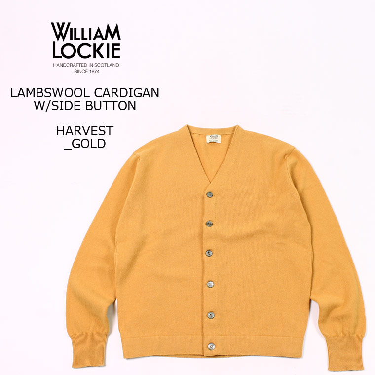 WILLIAM LOCKIE (ウィリアム ロッキー) LAMBSWOOL CARDIGAN W/SIDE BUTTON - HARVEST GOLD カーディガン メンズ