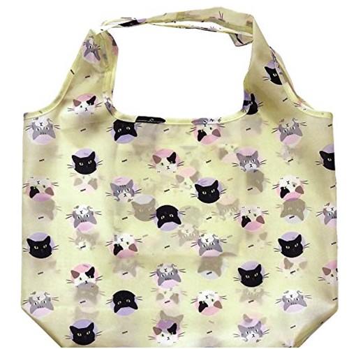 送料無料 バッグ 正規激安 エコバッグ 可愛い 猫 10%OFF アイボリー オシャレ ネコ 折りたたんでコンパクト かわいい ねこ柄 おしゃれ 内側ポケット シンプル
