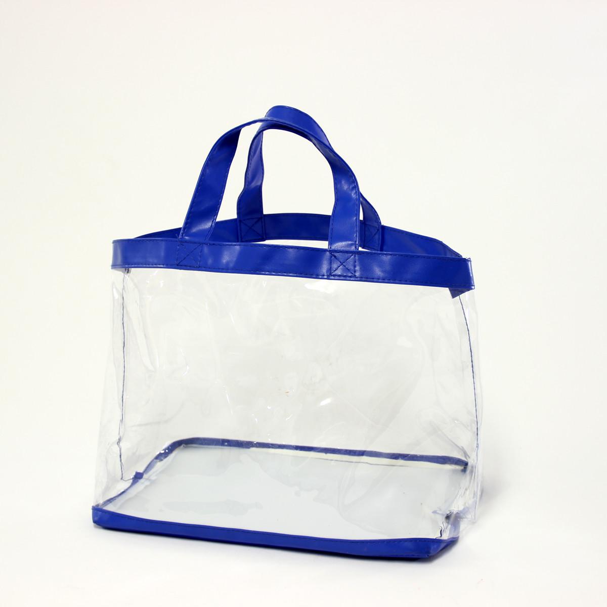 透明ビニールバッグ 人気商品 透明バッグ ブルー LB-30 発売モデル