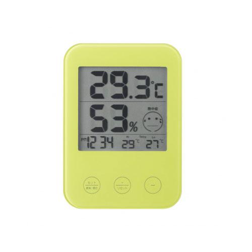 DO02GR 熱中症・インフルエンザ警報付きデジタル温湿度計GR YAZAWA(ヤザワコーポレーション)