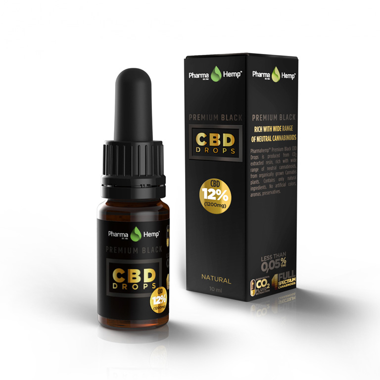 CBDオイル 高濃度 フルスペクトラム ファーマヘンプ cbd oil 12% プレミアムブラック 10ml アントラージュ CBD 1200mg 信用 売れ筋ランキング 高純度 オイル