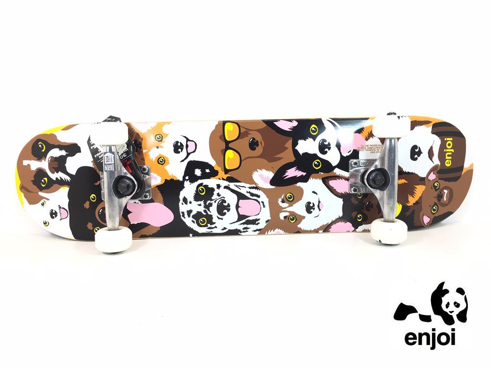 enjoi キッズ用スケートボード コンプリート 7.375インチ 【 DOG COLLAGE 7.375 X 29.8 】 スケボー エンジョイ SKATEBOARD DECK, えひめけん e7f60a1f