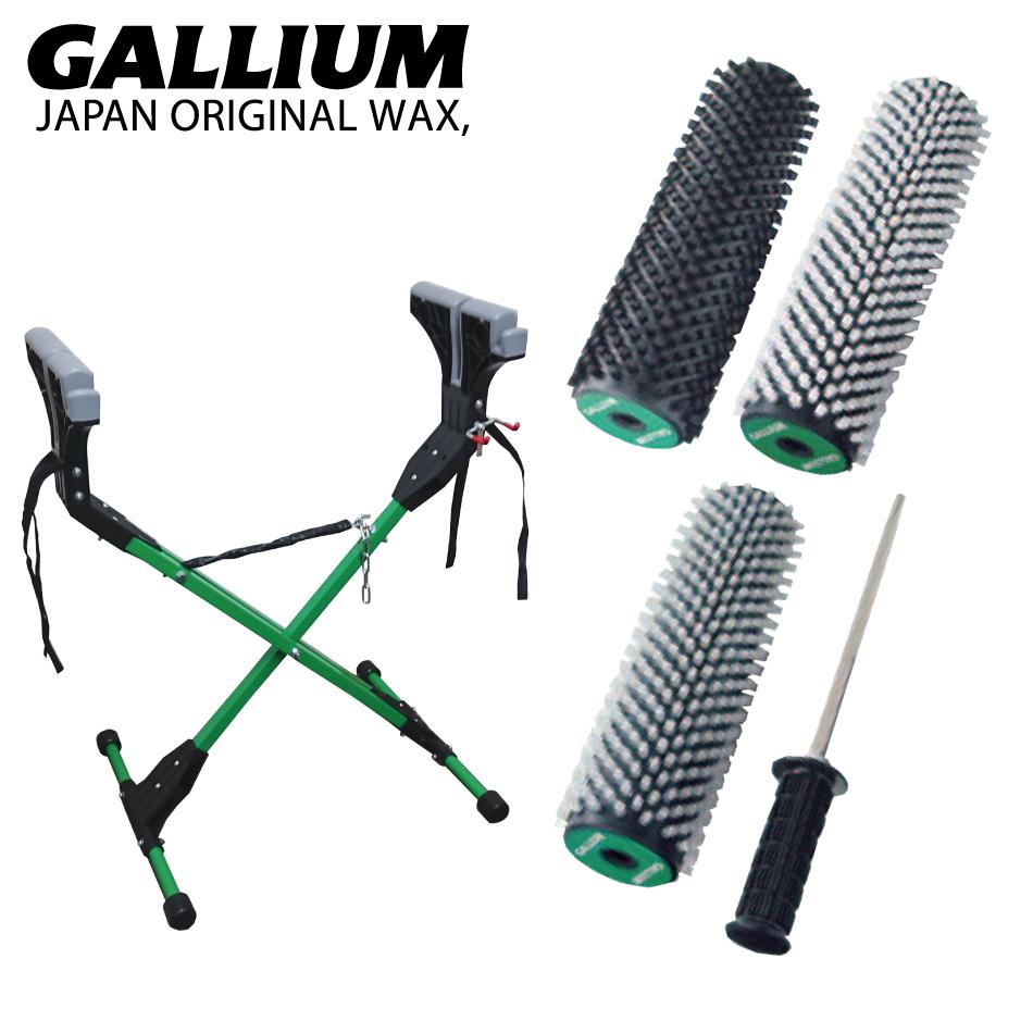 GalliumWax ガリウム ロトブラシ 3本セット&ハンドル + ガリウム ワックス スタンド マルチ 2点セット ワックススタンド チューニングスタンド セット ブラシ