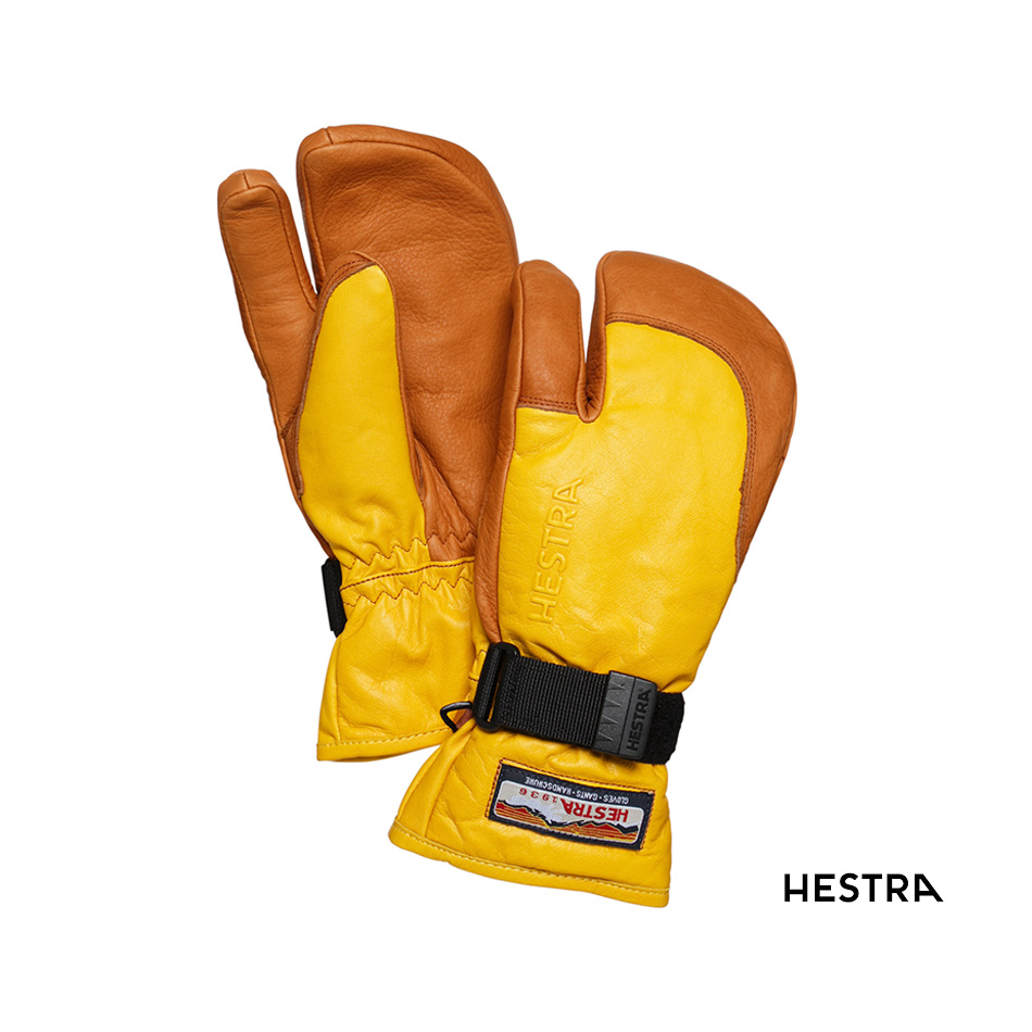 送料無料 高い保温性としなやかな本革レザー 20-21 NEW ARRIVAL HESTRA 3-FINGER FULL LEATHER yellow cork ヘストラ コルク 祝開店大放出セール開催中 スリーフィンガーフルレザー グローブ 6 正規品 スノボー 7 8 30872 イエロー