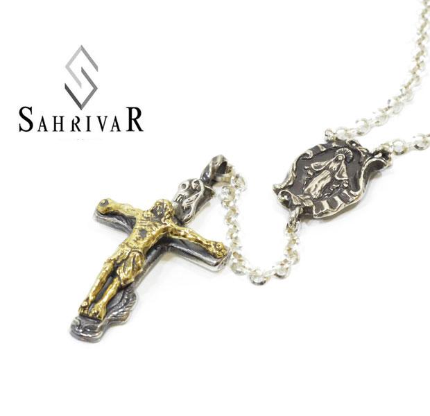 SAHRIVAR シャフリーバル SN10S10A SHR Rosary シルバー 真鍮 オニキス クロス ロザリオ