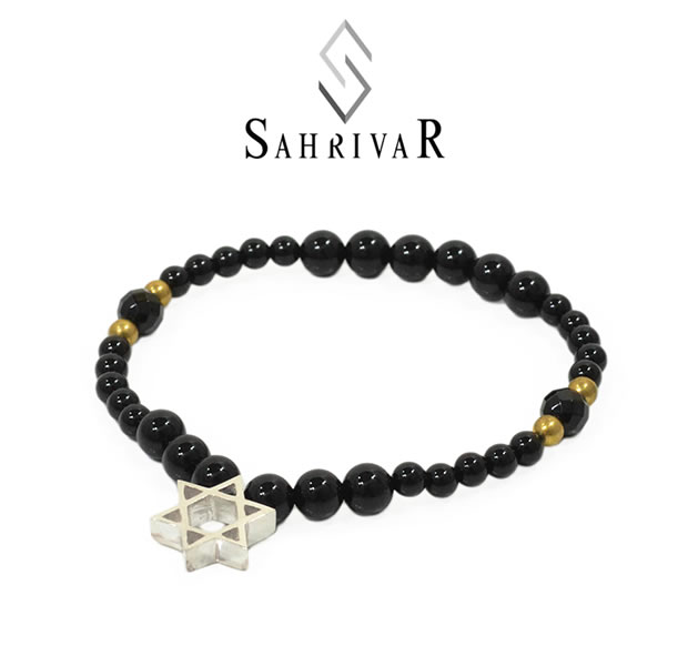 SAHRIVAR シャフリーバル SB62S17S Silver Hexagram Bracelet/OnyxSilver シルバー 六芒星 オニキス ブレスレット メンズ レディース
