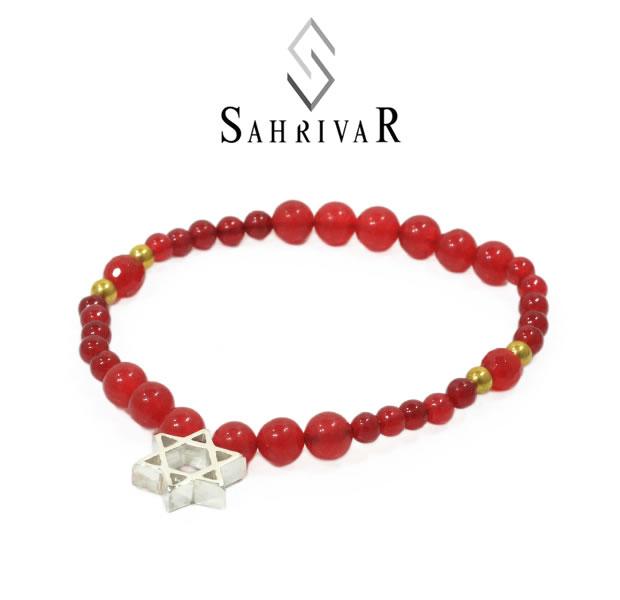 SAHRIVAR シャフリーバル SB64S17S Silver Hexagram Bracelet/Red Agate Silver シルバー 六芒星 レッド ブレスレット メンズ レディース