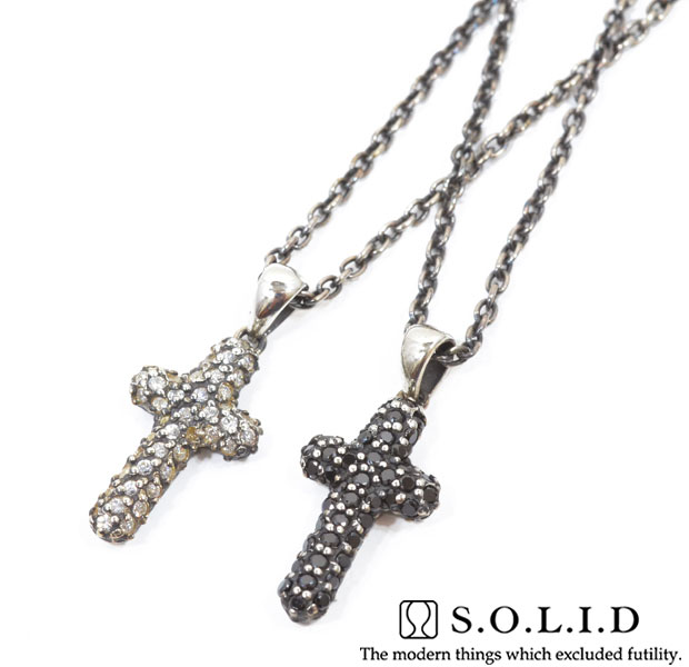 SOLID ソリッドSNA 22 Paveクロス crossnecklace ネックレスsilver925 シルバーメンズ レデ5AR34jL