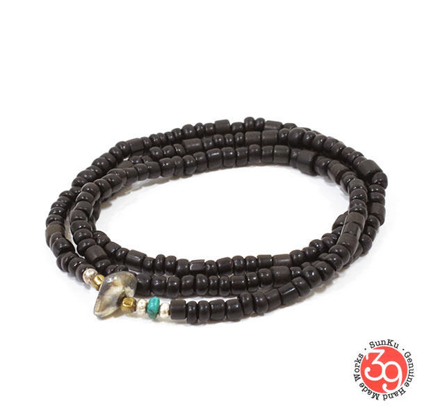 Sunku/39/サンク LTD-014 Antique Beads Necklace & Bracelet Black アンティークビーズブレスレットNecklace/ネックレスSilver925/シルバー/BRASS/真鍮アンティーク/ターコイズ/Turquoiseアクセサリー