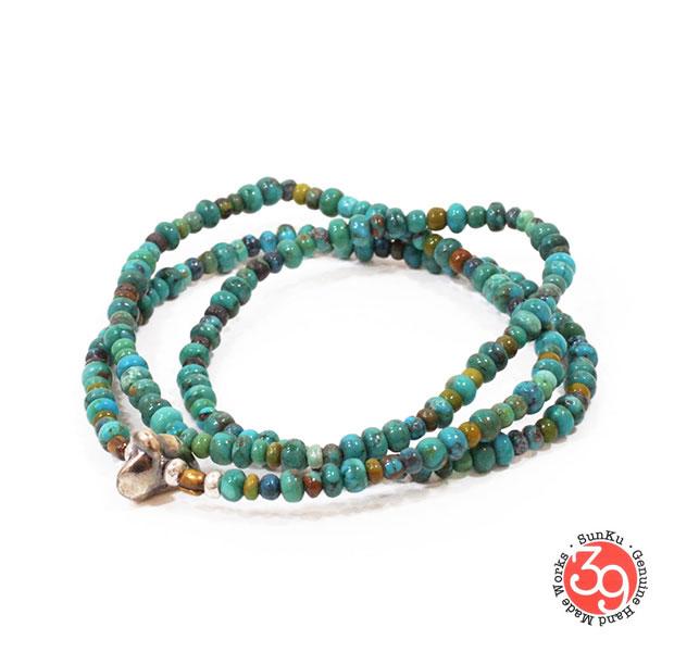 Sunku/39/サンクSK-008 Turquoise Beads Necklace & BraceletアンティークビーズブレスレットBracelet/ブレスレットSilver925/シルバー/BRASS/真鍮アンティーク/ターコイズ/Turquoiseアクセサリー