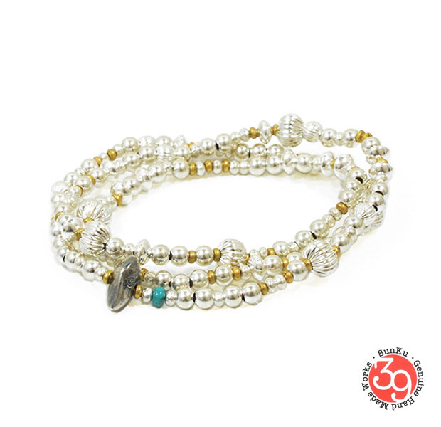 Sunku/39/サンクSK-054 Mix Silver Beads Necklace & BraceletアンティークビーズブレスレットNecklace/ネックレスSilver925/シルバー/BRASS/真鍮アンティーク/ターコイズ/Turquoiseアクセサリー