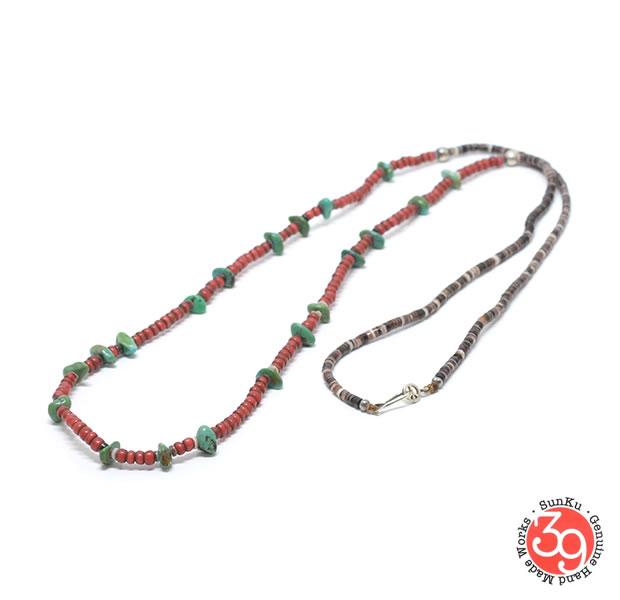 Sunku 39 サンクSK-235 Antique beads necklaceアンティークビーズ Silver925 シルバー BRASS 真鍮アンティーク/ターコイズ Turquoiseメンズ レディース