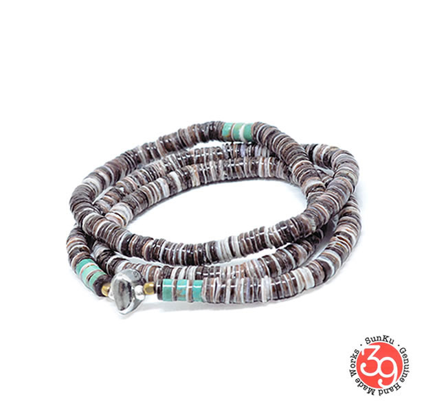 Sunku 39 サンクSK-056-PPL Heishi Shell Necklace & Bracelet アンティークビーズブレスレット Bracelet ブレスレットSilver925 シルバー BRASS 真鍮アンティーク/ターコイズ Turquoiseメンズ レディース