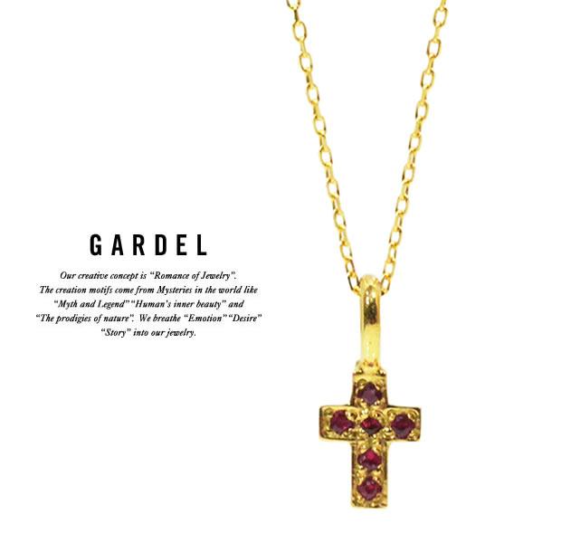 GARDEL ガーデル/GDP-047/Ruby FAIRY CROSS NECKLACE/ネックレスCROSS/クロス/K18 GOLD/ゴールド/天然石/ジュエリー/ルビー/アクセサリー