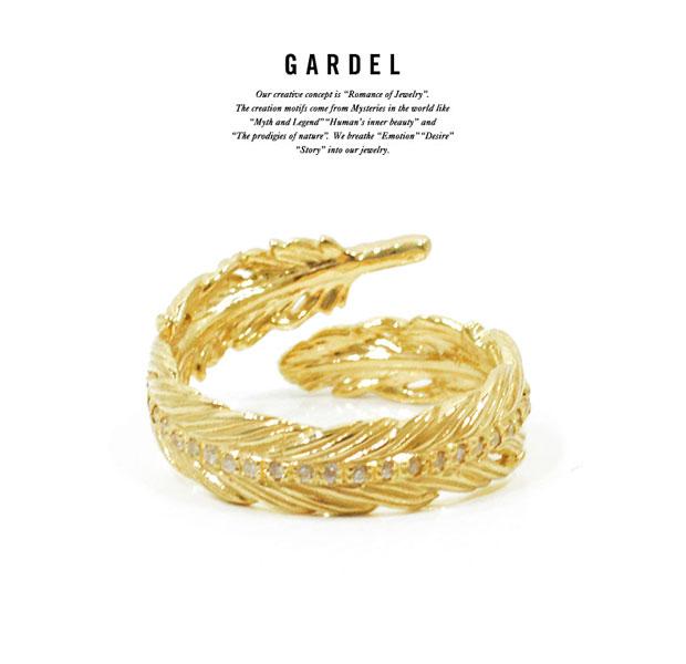 GARDEL ガーデル gdr077 NATURAL FEATHER RING PINKY RING/リング/Feather/フェザーK18 GOLD/ゴールド/Diamond/ダイヤモンドメンズ/レディースアクセサリー/ジュエリー