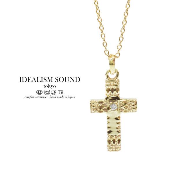 【idealism sound】 イデアリズムサウンド idealismsound No.12009 K10 Gold Necklace10金 ゴールド クロス ネックレス メンズ レディース