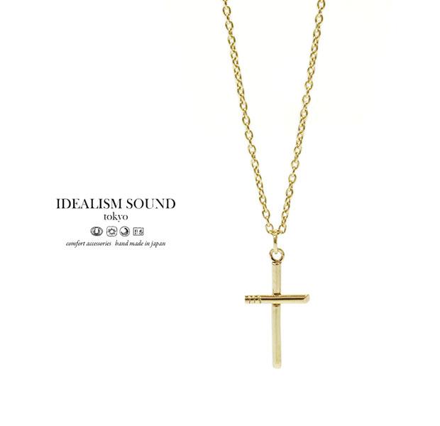 【idealism sound】 イデアリズムサウンド idealismsound No.15020 K10 Gold Cross Necklace/S10金 ゴールド クロス ネックレス シンプル メンズ レディース