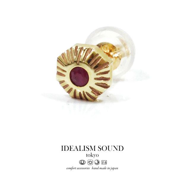 【idealism sound】/イデアリズムサウンドidealismsound/No.14042 K10 Ruby ピアス/Pierce天然石/ルビーハンドメイド/アンティーク/ネイティブメンズ/レディース/アクセサリーK10 GOLD/ゴールド