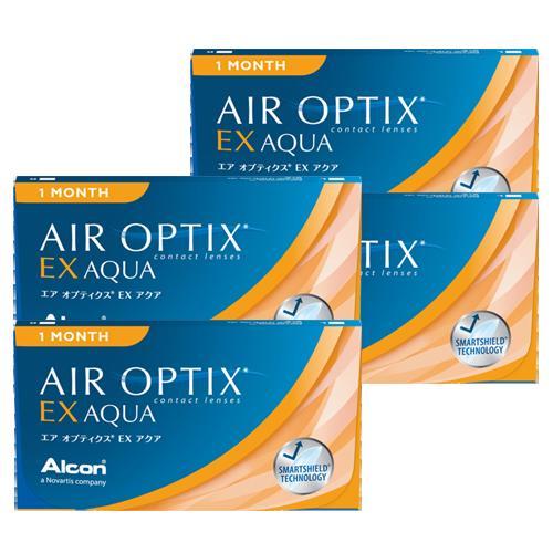 エアオプティクスEXアクア (3枚)4箱セット 【ゆうパケット送料無料】(エアオプティクス EXアクア アルコン 1ヶ月)--