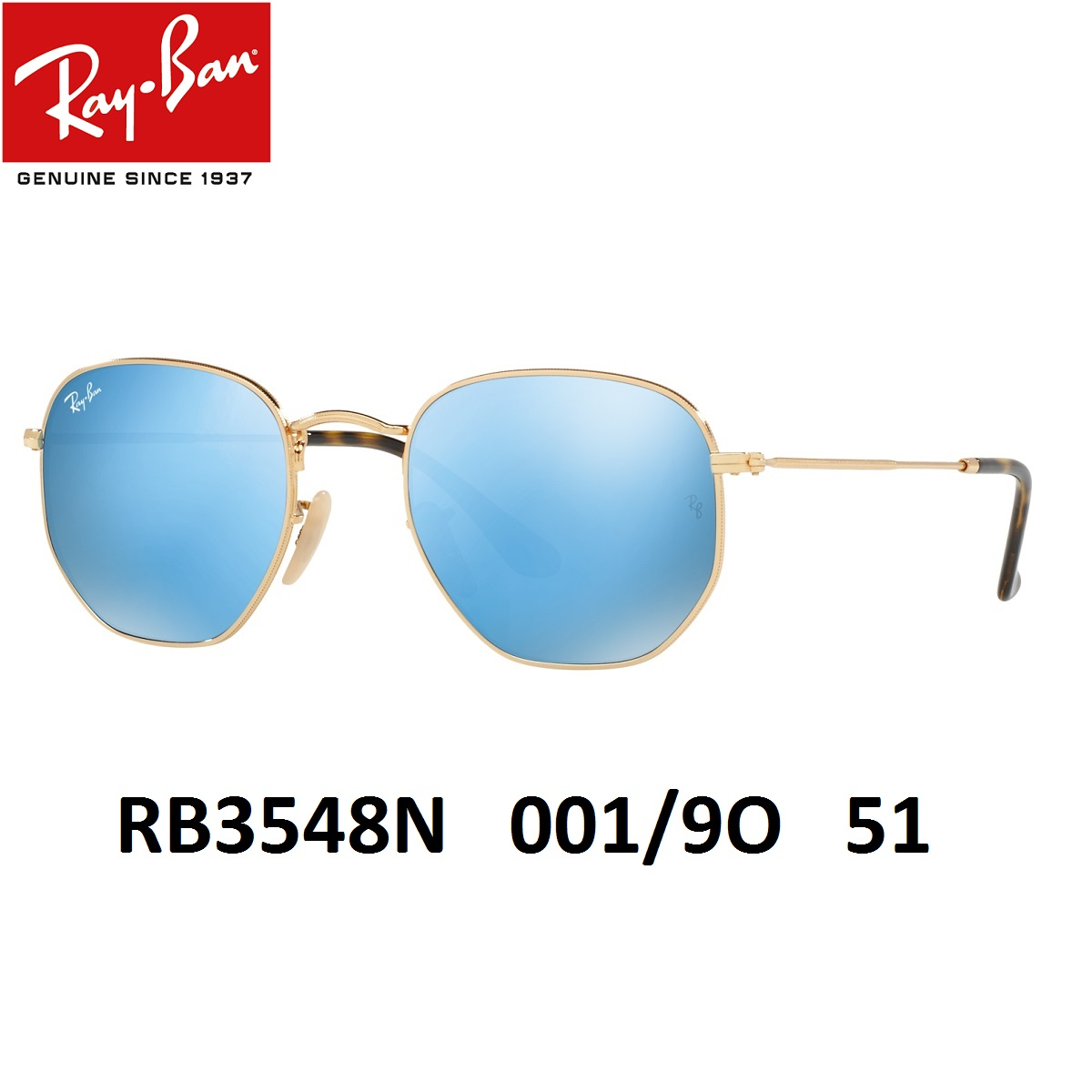 レイバン サングラス Ray-Ban RB3548N 001/9O(51)ヘキサゴンシェイプ フラットレンズ タイプ【あす楽対応】メンズ レディース 男女兼用 【ミラリジャパンメーカー保証書付】