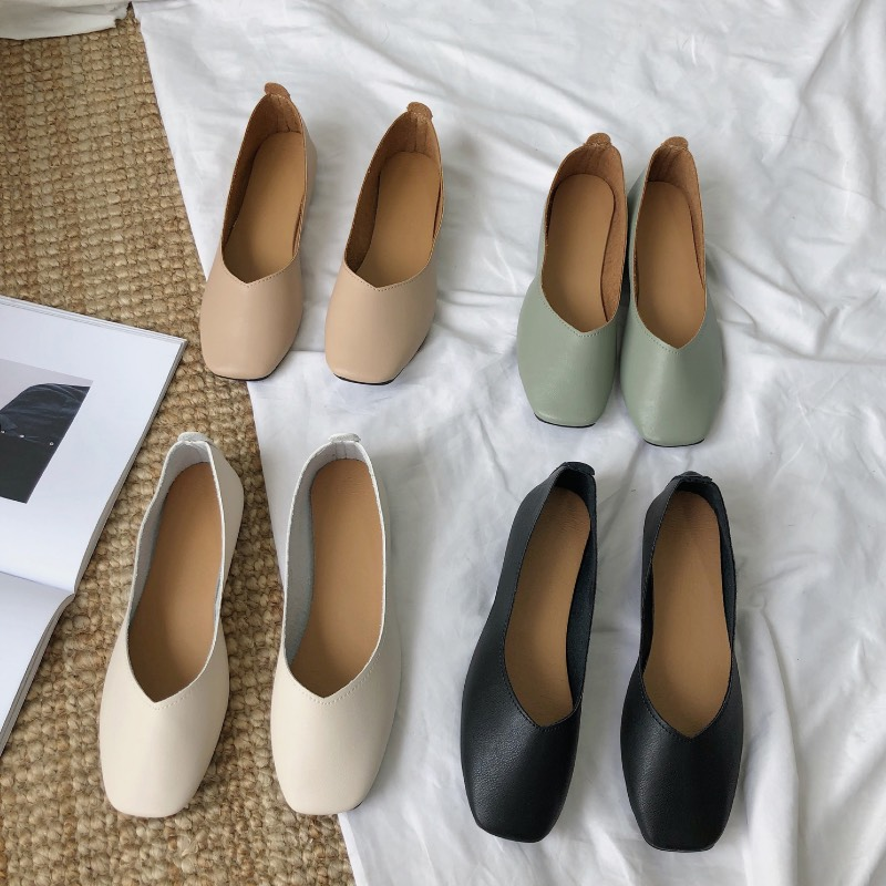 シンプル上品なスクエアシューズ スクエアフラットパンプス 送料無料 パンプス 新色 お気にいる ローヒール フラットシューズ Z レディースシューズ Vカット バレエシューズ 婦人靴