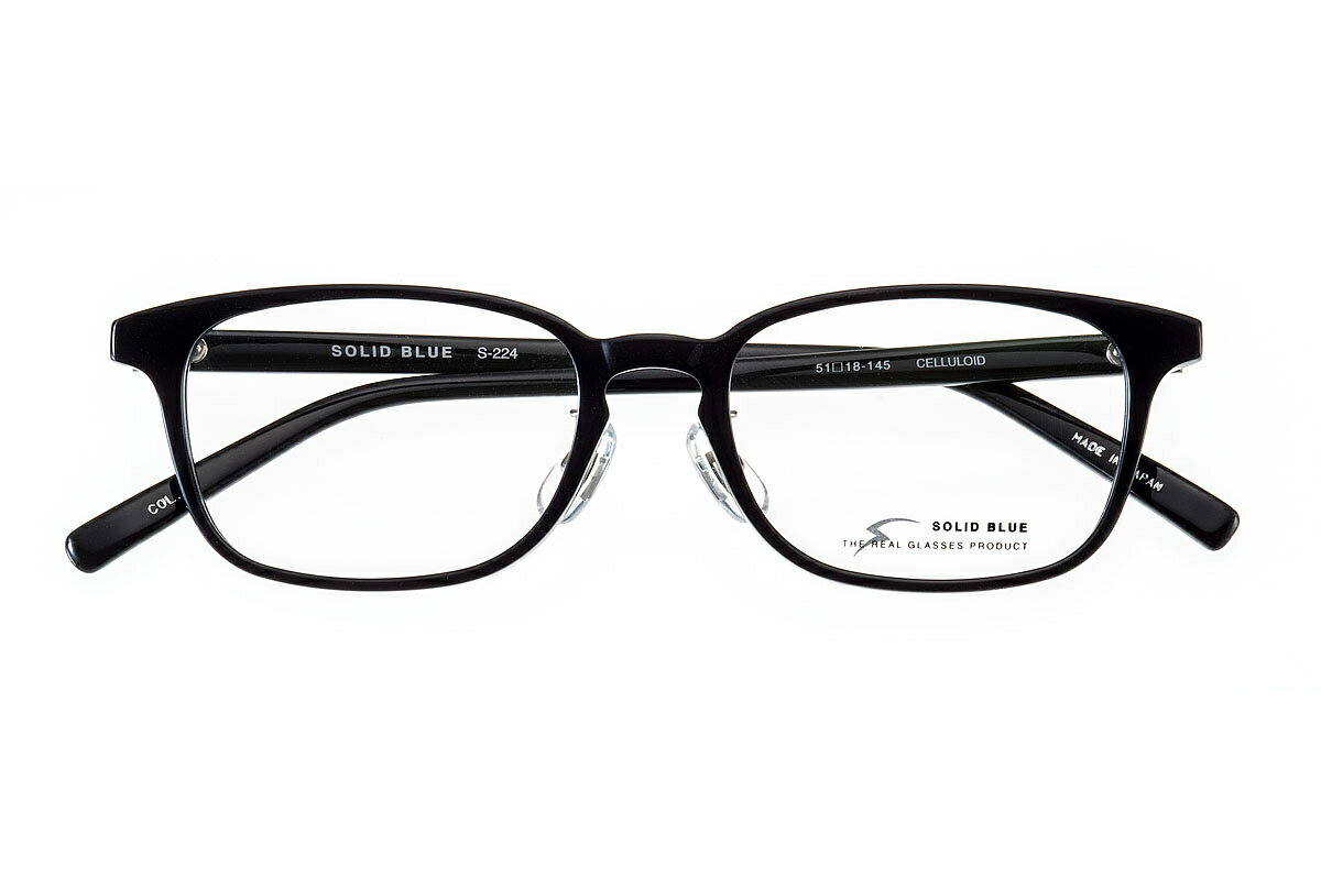 ソリッドブルー SOLID BLUE S-224 全色 セル メガネ フレーム 眼鏡 めがね 日本製 国産 鯖江 ウエリントン 軽い 軽量 男 メンズ