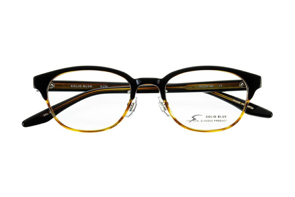 ソリッドブルー SOLID BLUE S-234 全色 セル メガネ フレーム 眼鏡 めがね 日本製 国産 鯖江 ウェリントン ボスリントン ブロウ 軽い 軽量 男 メンズ 【送料無料】おしゃれ クラシック