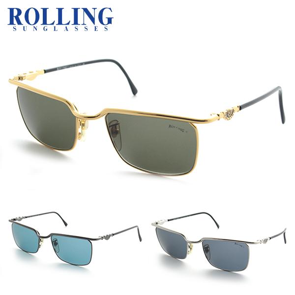 [ROLLING] DS-R676 サングラス UV ローリング イタリア 紫外線カット ゴールド 細身 デッドストック 新品 ケース付 年代物 レアもの 価値 メンズ 正規品