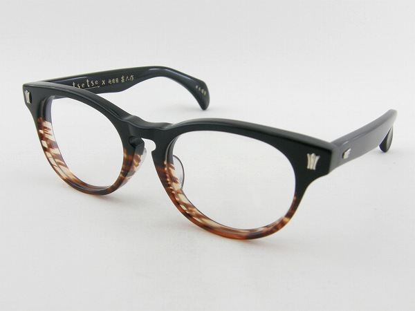 [tsetse×甚六作] TCL-SP2-3 メガネフレーム ブラック 茶 ボストン ツェツェ 昭和 高級感 伊達メガネ 度付き可 新品 眼鏡 レトロ めがね 男女兼用 クラシカル 正規品