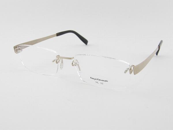 [Kazuo Kawasaki] カズオカワサキ メガネフレーム MP-714-NL11-52 川崎和男 ペイリンで話題 しなやか ベータチタン 新品 専用ケース付 日本製 度付可 めがね 眼鏡 正規品