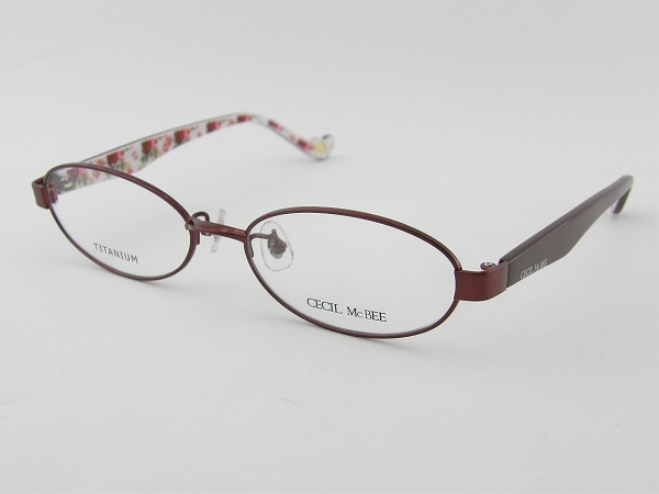 [CECIL McBEE] セシルマクビー 3006-3 度付メガネセット 赤 花柄 レディース キュート フラワー プリント 新品 チタン 軽量 モテ ベア 女子 正規品