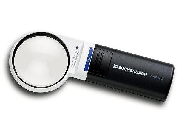 [ESCHENBACH] エッシェンバッハ1511-41 LED ワイドライトルーペ 拡大鏡 4倍 60mm 丸型 ラウンド 新聞 虫めがね ギフト 敬老 新品 LEDライト付 非球面 携帯 虫眼鏡 読書 正規品