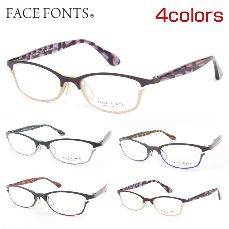 【送料無料】FaceFonts フェイスフォント 306 メガネ スクエア 度付き 度なし フェイスフォント バネ性 掛けやすい バイカラー 新品 本物 鼻パット 国産 眼鏡 チタン 日本製 正規品