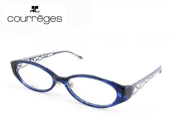 【レンズセット】レンズセット [courreges] クレージュ メガネ 6024-1 ブルー キレイ 薄型度付レンズ付 シンプル ダテメガネ 新品 お買得 セット 眼鏡 レディース CUTE 正規品