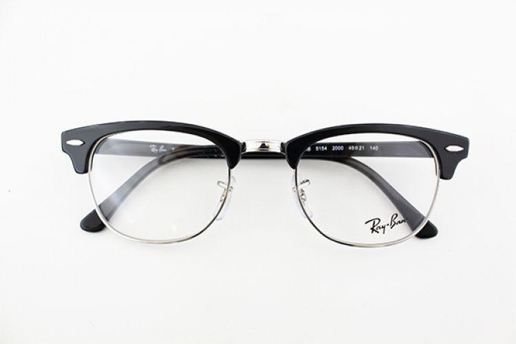 有案例眼镜国内真正保修期雷朋眼镜架与黎 RX5154-2000年全新真正影响力黑色母徒步旅行者基本眼镜银