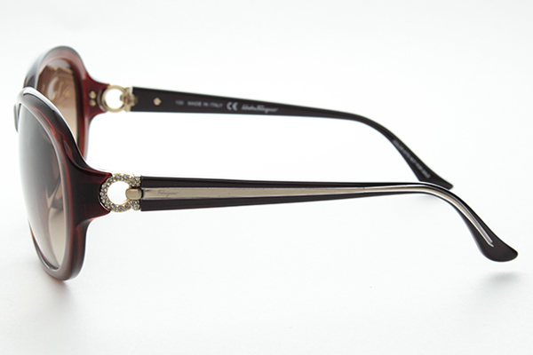 [菲拉格慕,菲拉格慕 SF740SRA 太阳镜大 gancini Salvatore Ferragamo 施华洛世奇鞋女性新的真正的 UV 削减 UV 海外提出了真正的复古