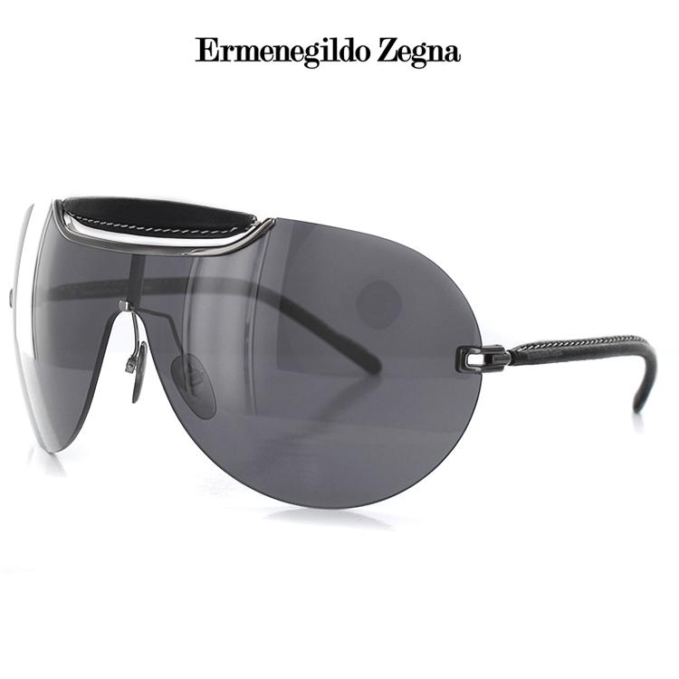 【送料無料】エルメネジルドゼニア サングラス 一眼レンズ レザー 革 SZ3017 568P 156サイズ ティアドロップ ガンメタル レディース 女性用 Ermenegildo Zegna UVカット 紫外線カット