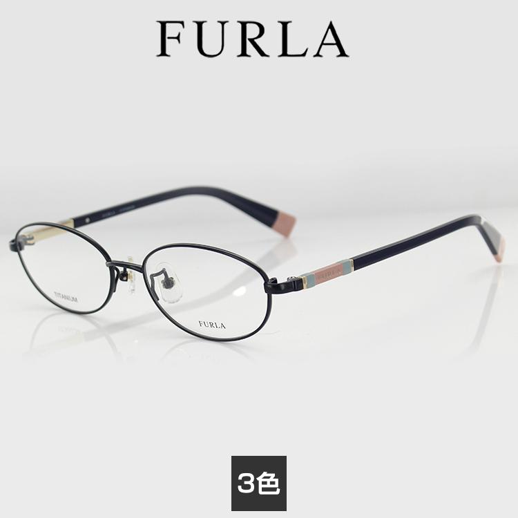 【送料無料】フルラ F-チタン メガネフレーム VFU319J 52サイズ オーバル シャイニーレッドワイン レディース 女性用 FURLA 眼鏡フレーム PCメガネ ブルーライトカット 度付き可