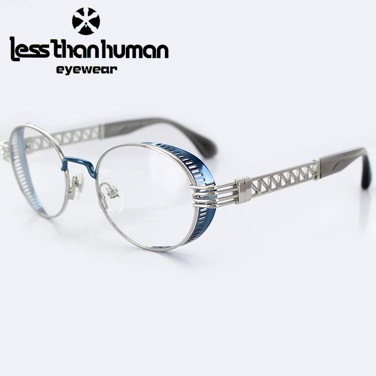 【送料無料】【日本製】レスザンヒューマン メガネフレーム ENIGMA 1010B 48サイズ ラウンド シルバー シャイニーネイビー ユニセックス 男女兼用 less than human 眼鏡フレーム PCメガネ ブルーライトカット 度付き対応可